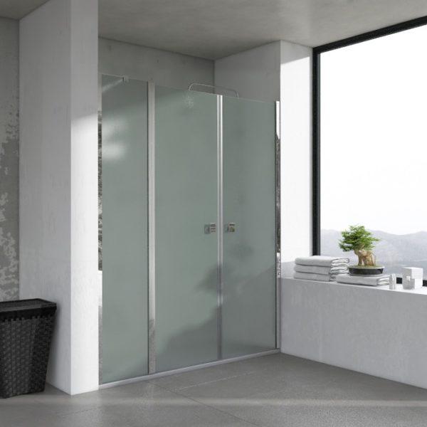 Mampara de ducha serie OPEN frontal con dos puertas y un fijo