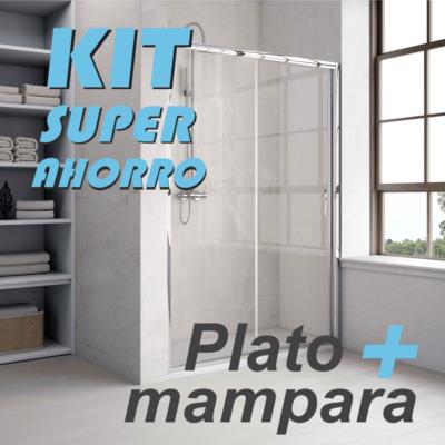 KIT Ahorro plato de ducha más mampara modelo 3