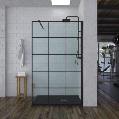 Mampara de ducha fija, negra con cuadrados